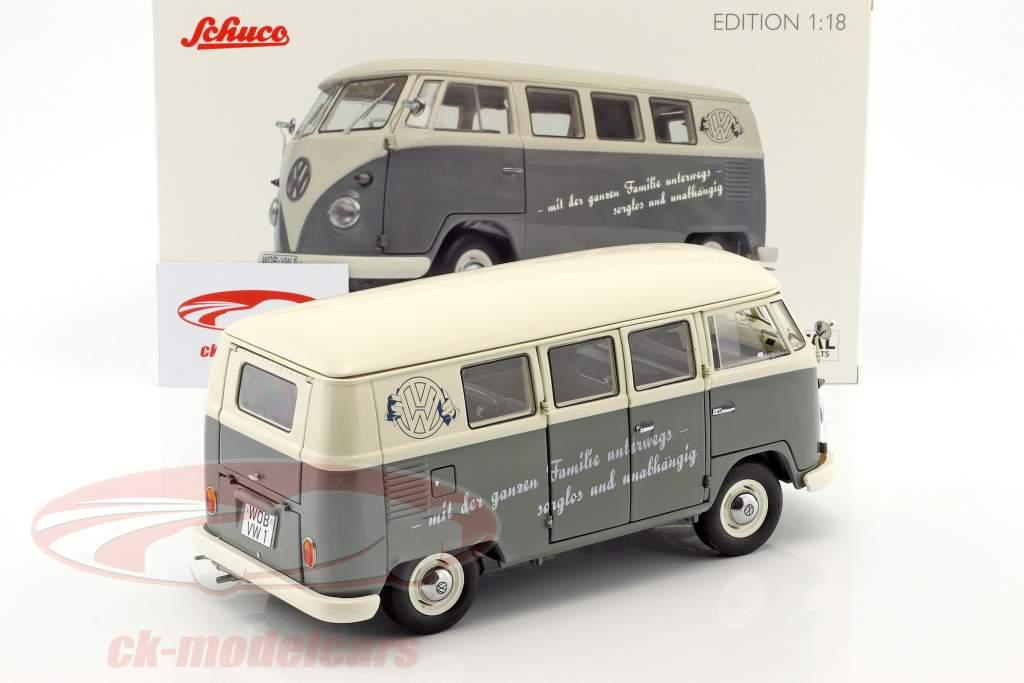 Volkswagen VW T1b Bus cinza / branco 1:18 Schuco