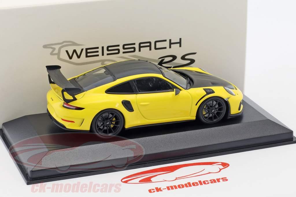 Porsche 911 GT3 RS Weissach pakke gul / sort 1:43 Minichamps