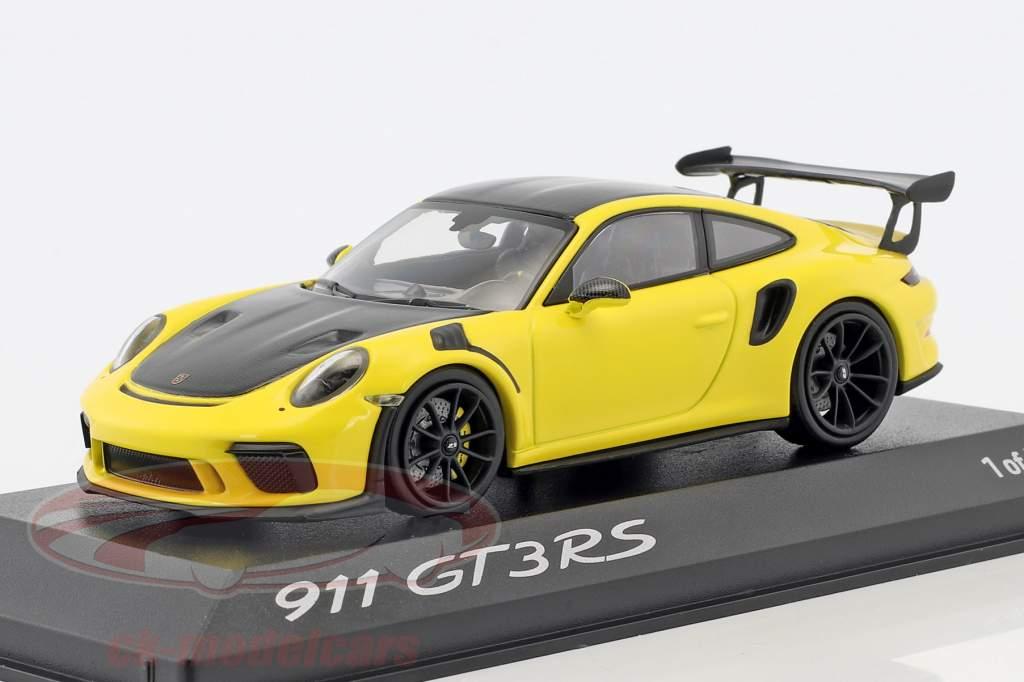Porsche 911 GT3 RS Weissach verpakking geel / zwart 1:43 Minichamps