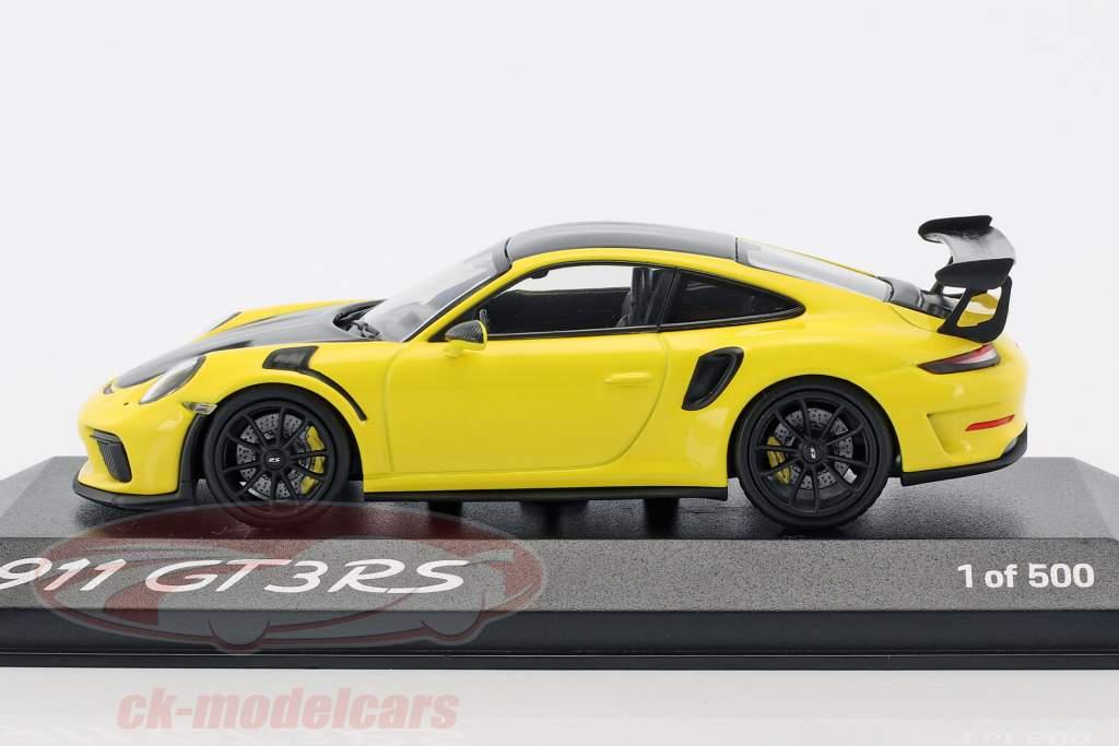 Porsche 911 (991 II) GT3 RS Weissach Package Baujahr 2018 gelb / schwarz 1:43 Minichamps