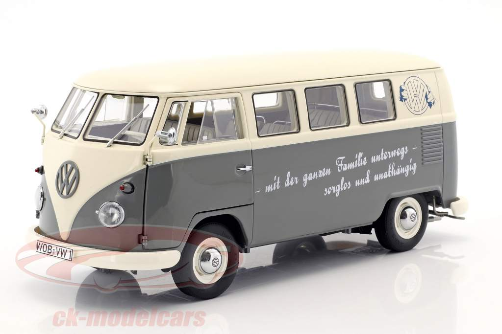 Volkswagen VW T1b Bus grijs / wit 1:18 Schuco