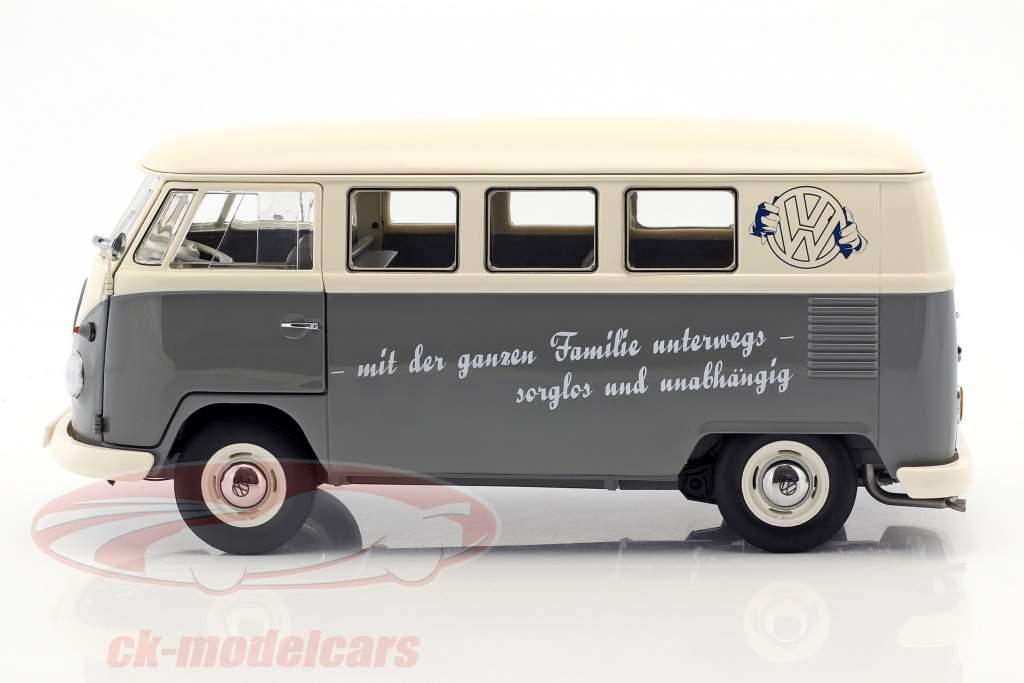 Volkswagen VW T1b Bus gris / blanco 1:18 Schuco