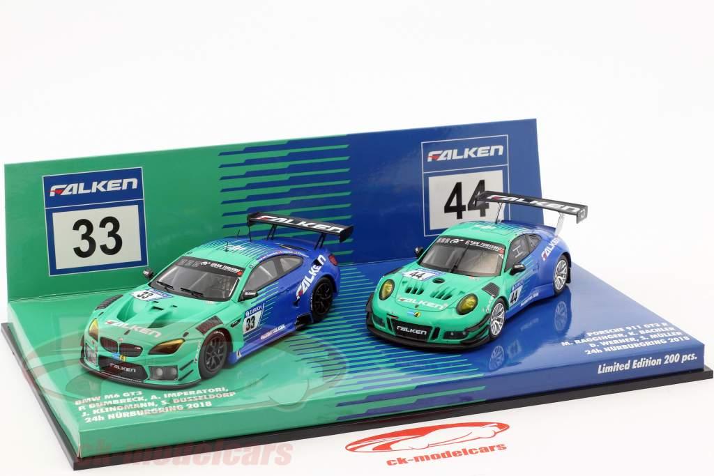 2-Car Set BMW M6 GT3 #33 & Porsche 911 GT3 R #44 Nürburgring 2018 Falken Motorsports 1:43 Minichamps