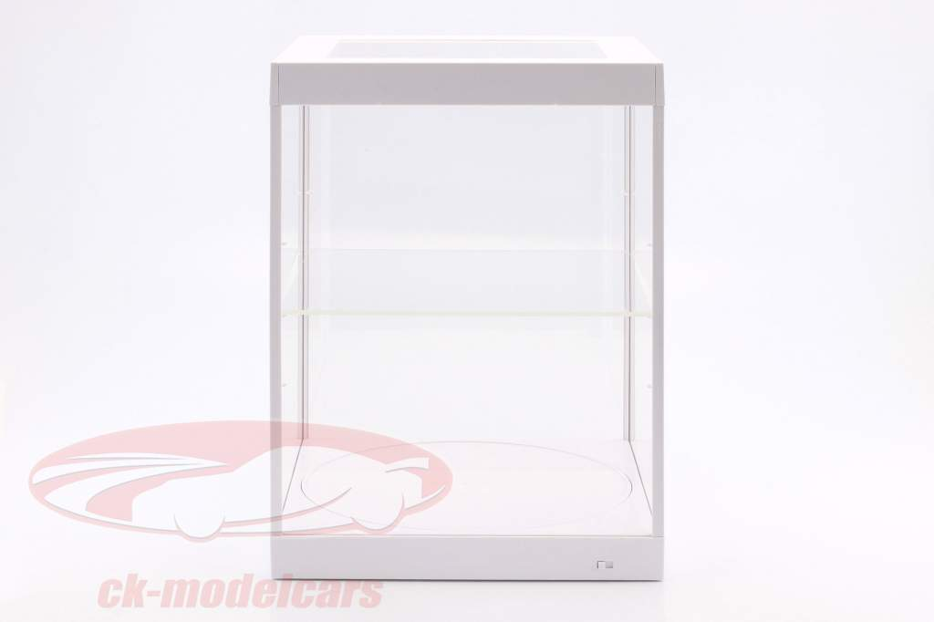 single showcase and Rotary table for modelcars in scale 1:18 white Triple9