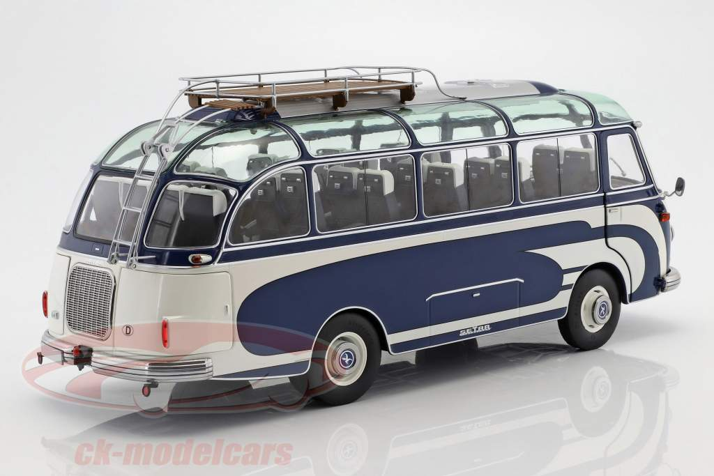 SETRA S6 BUS WITH ROOF RACK BLUE /& WHITE LTD ED 1//18 DIECAST BY SCHUCO 450034700