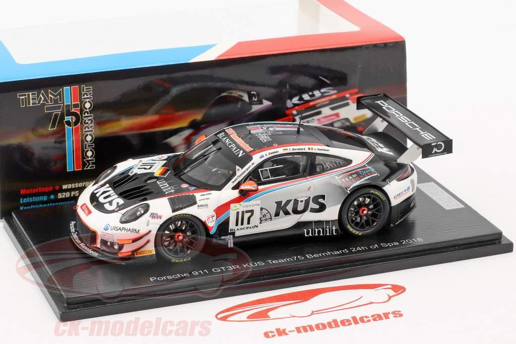 Spark 143 Porsche 911 991 GT3 R 117 24h Spa 2018 KS Team75 Bernhard T75B18 Model Car 9580006532466