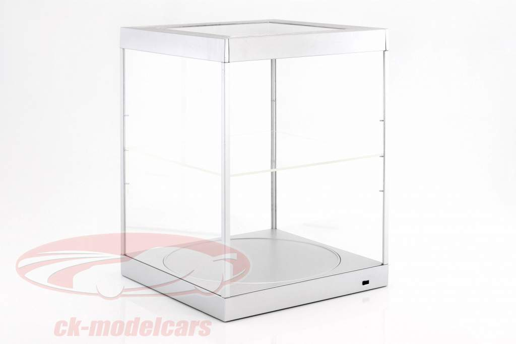 single showcase and Rotary table for modelcars in scale 1:18 silver Triple9