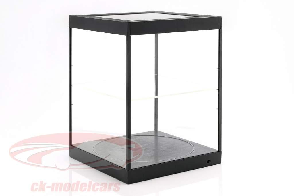 single tonen geval en draaiend tafel voor modelauto's in schaal 1:18 zwart Triple9