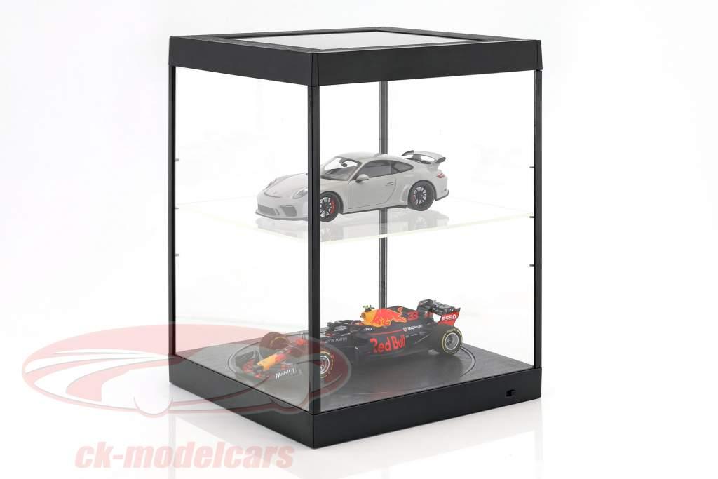 Einzelvitrine mit LED-Beleuchtung und Drehteller für Modellautos im Maßstab 1:18 schwarz Triple9