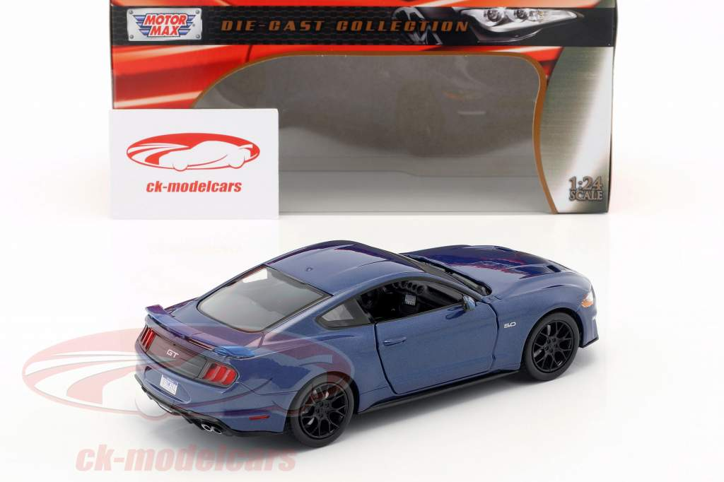 Ford Mustang GT 5.0 V8 Opførselsår 2018 blå metallisk 1:24 MotorMax