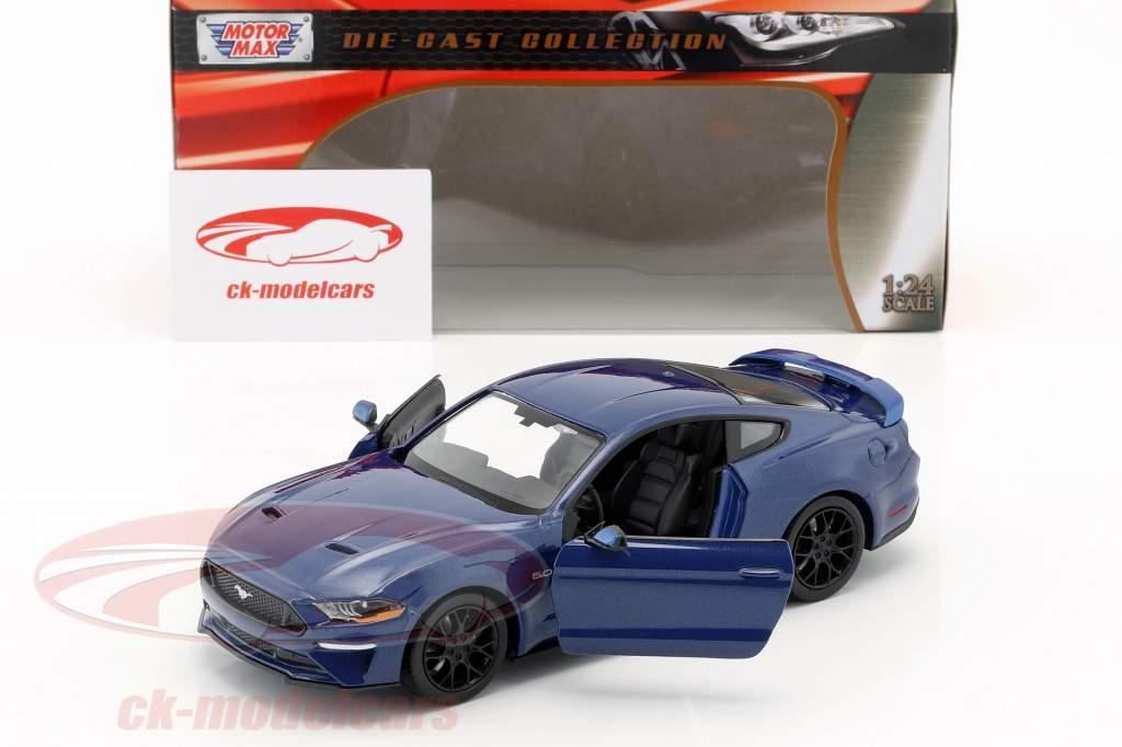 Ford Mustang GT 5.0 V8 año de construcción 2018 azul metálico 1:24 MotorMax