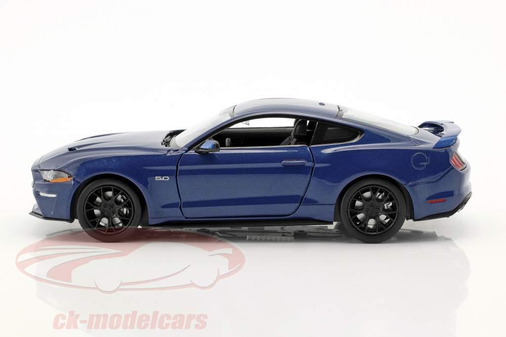Ford Mustang GT 5.0 V8 Bouwjaar 2018 blauw metalen 1:24 MotorMax