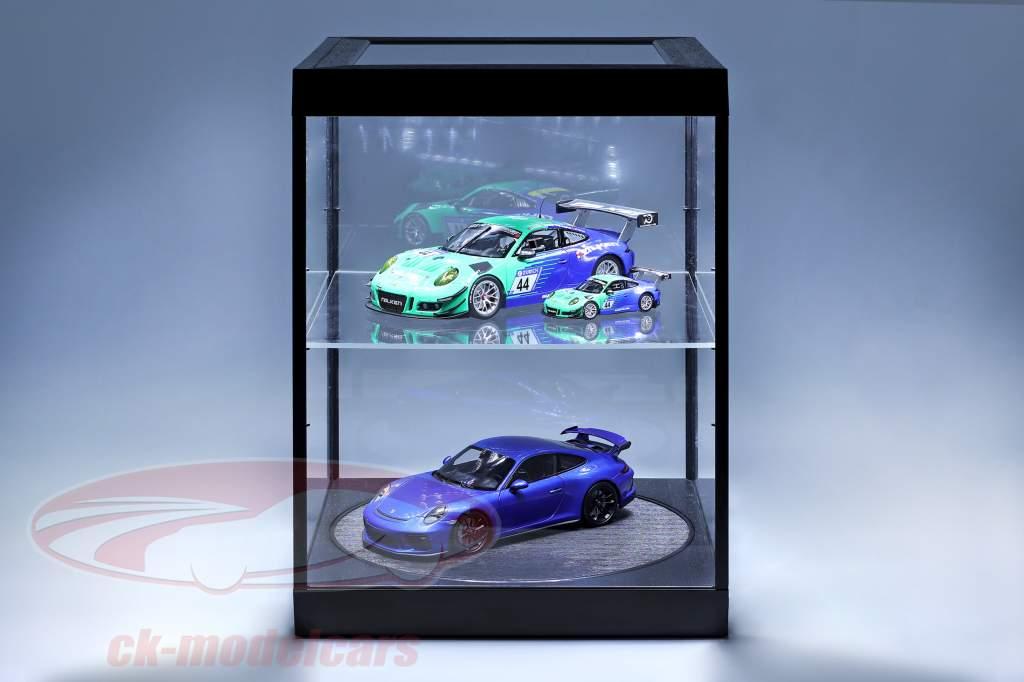 enkeltværelse udstilling tilfælde og Rotary bord til modelcars i skala 1:18 sort Triple9
