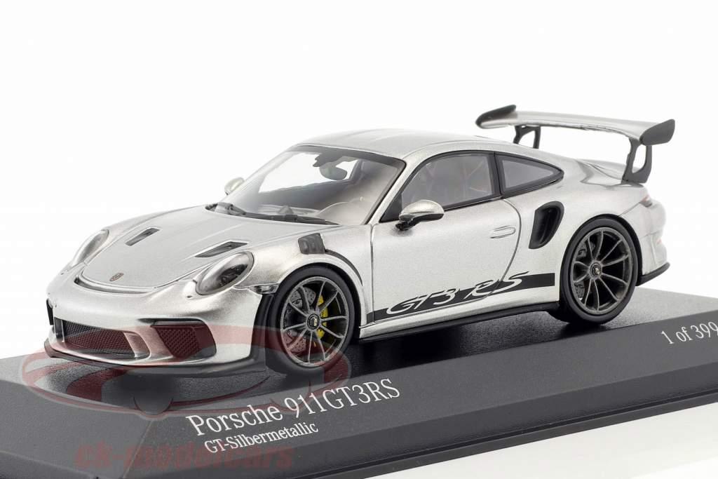 Porsche 911 (991 II) GT3 RS Bouwjaar 2018 GT-zilver metallic 1:43 Minichamps