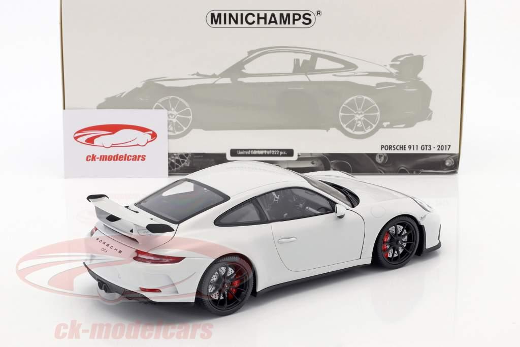 Porsche 911 (991 II) GT3 Bouwjaar 2017 carrara wit metalen 1:18 Minichamps