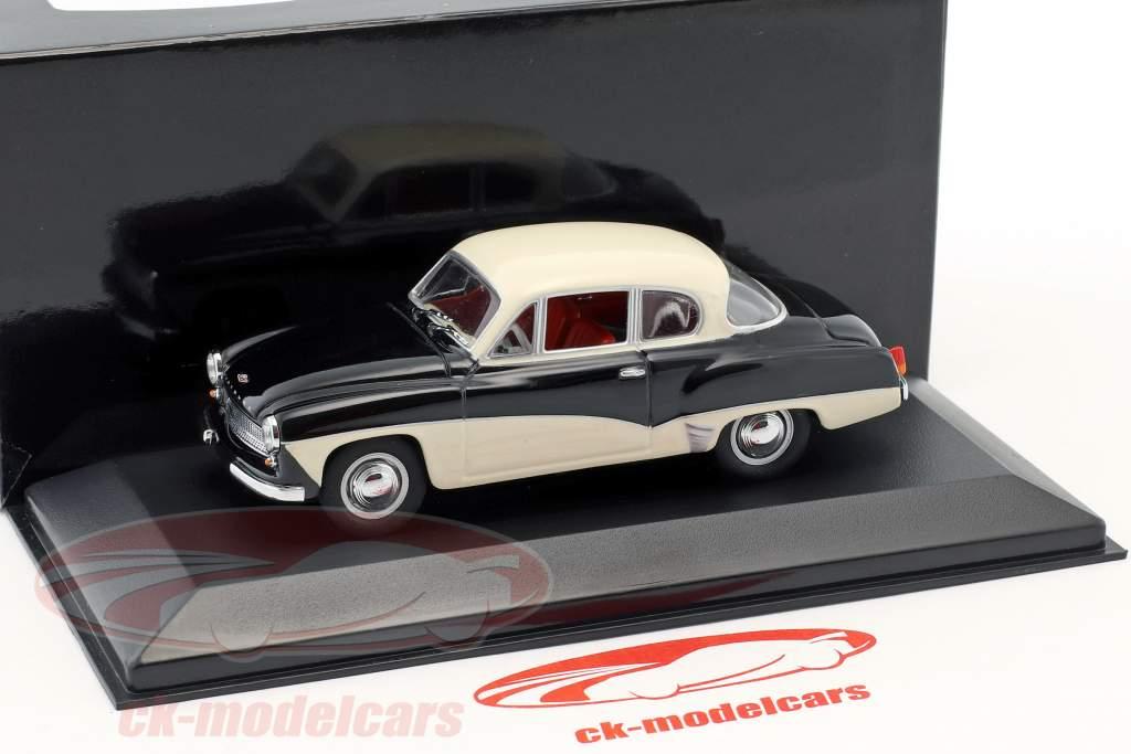 Wartburg 311 Bouwjaar 1955-1965 zwart / wit 1:43 Minichamps / vals oververpakking
