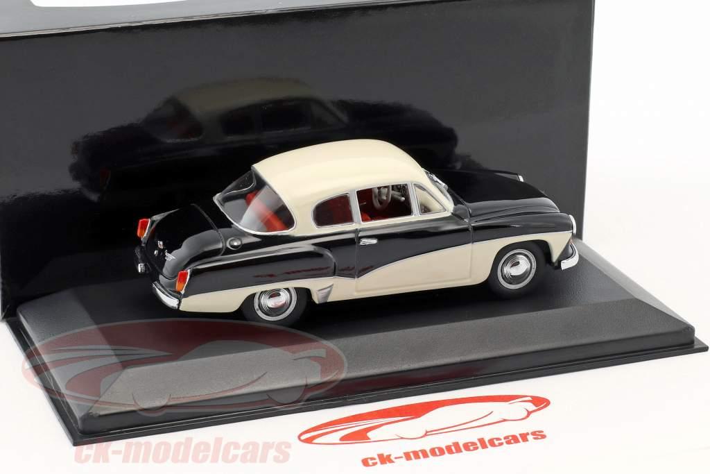 Wartburg 311 Opførselsår 1955-1965 sort / hvid 1:43 Minichamps / falsk overpack