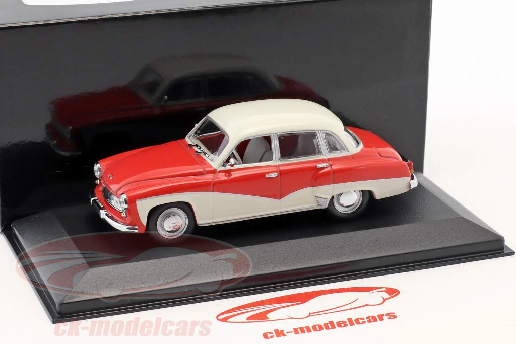 Wartburg 311 año de construcción 1955-1965 rojo / blanco 1:43 Minichamps / falso sobreembalaje