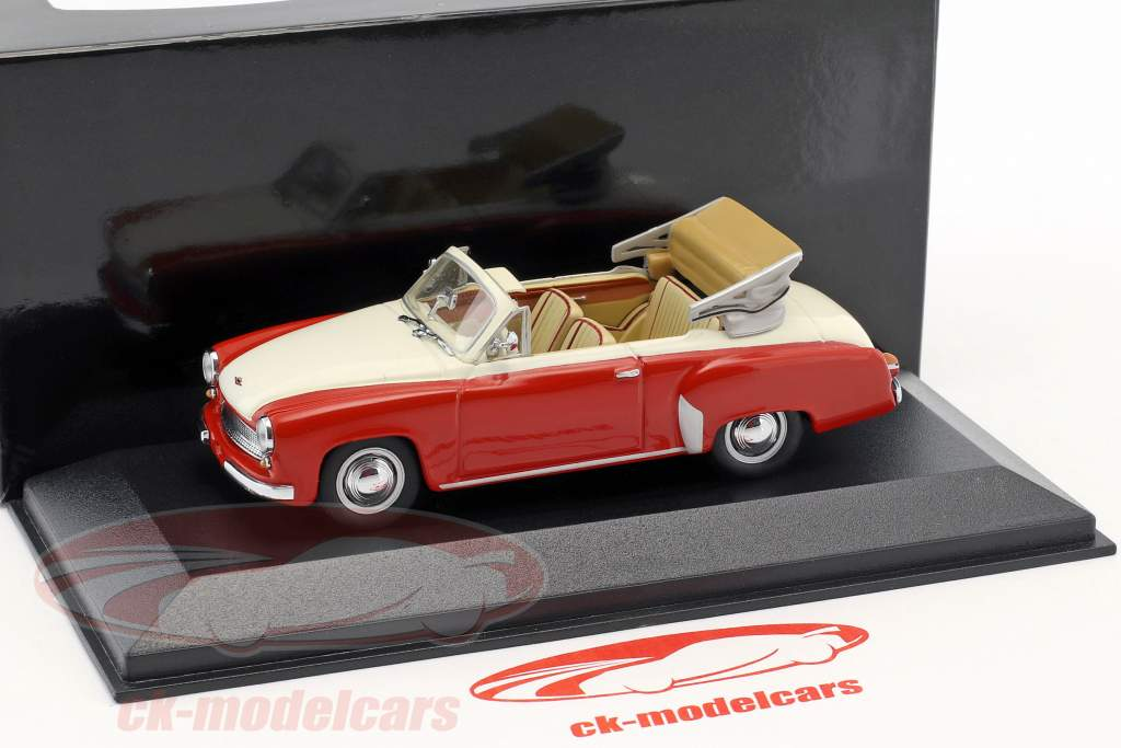 Wartburg 311/2 cabriolet anno di costruzione 1957-1965 rosso / bianco 1:43 Minichamps / falso sovrimballaggio