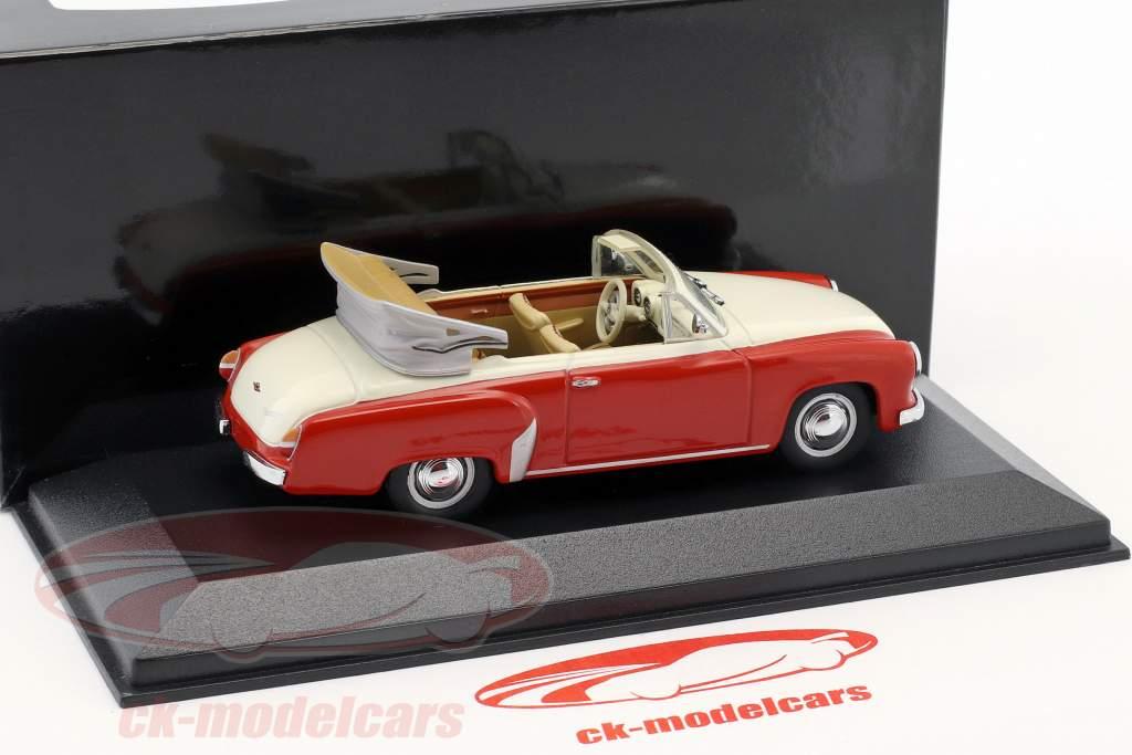 Wartburg 311/2 cabriolé año de construcción 1957-1965 rojo / blanco 1:43 Minichamps / falso sobreembalaje