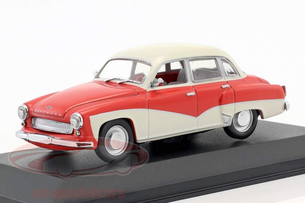 Wartburg 311 année de construction 1955-1965 rouge / blanc 1:43 Minichamps / faux suremballage