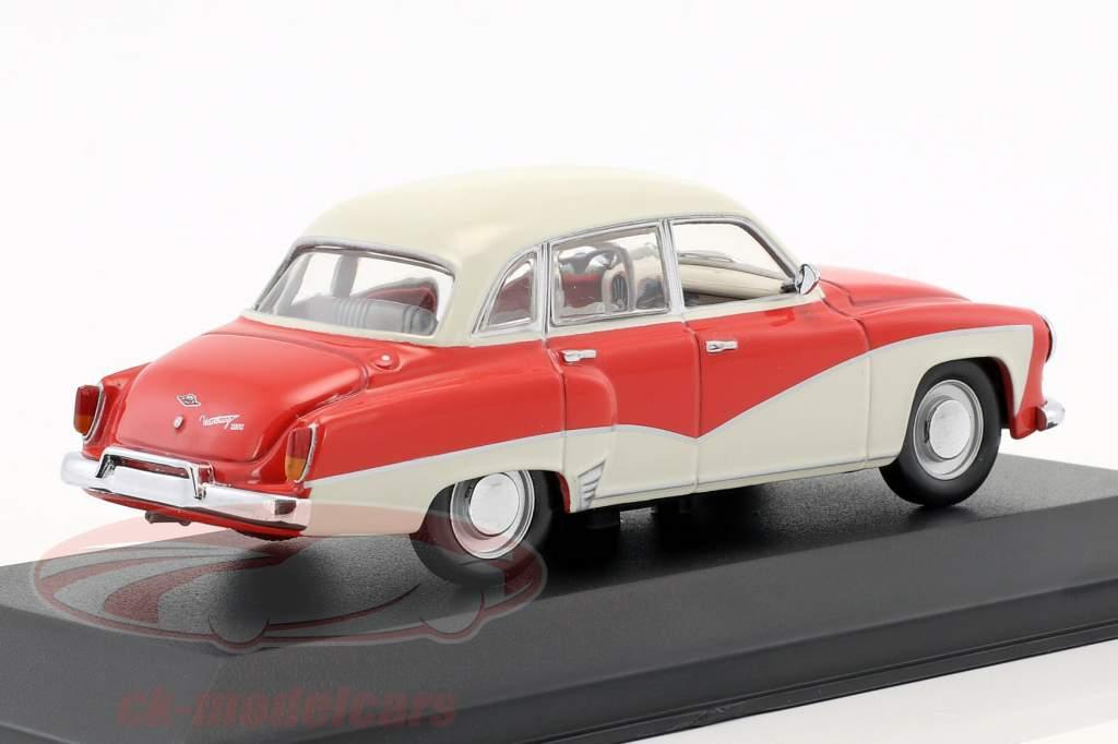 Wartburg 311 ano de construção 1955-1965 vermelho / branco 1:43 Minichamps / falso overpack