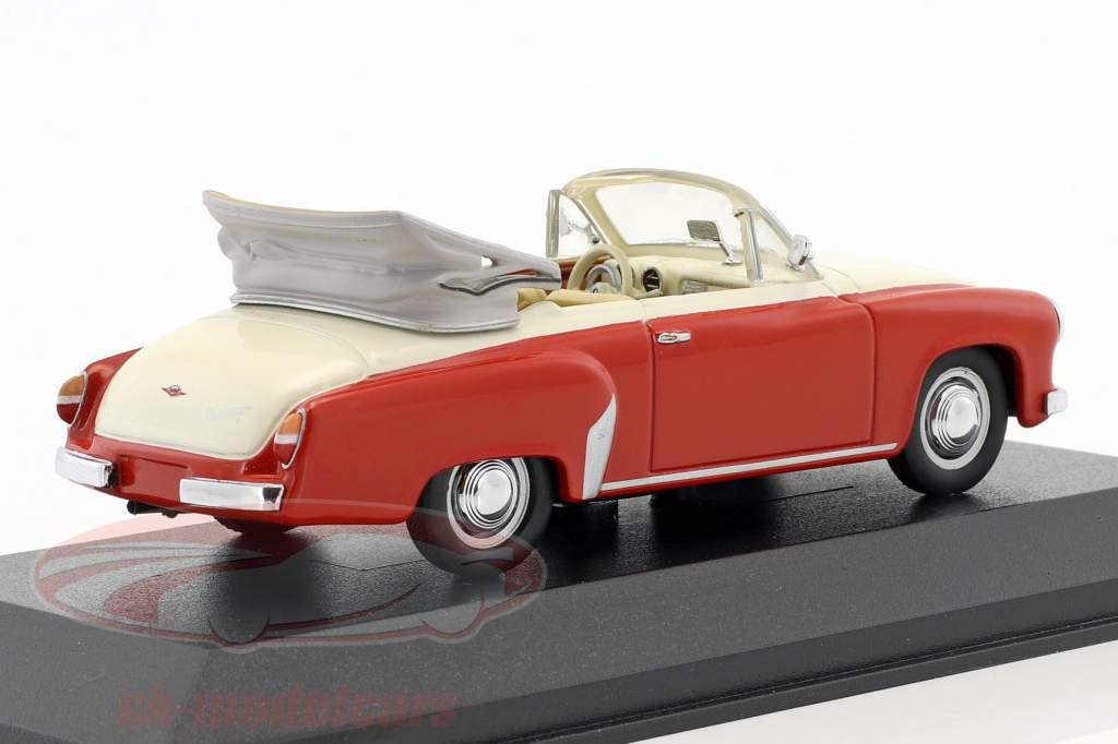 Wartburg 311/2 Cabriolet Opførselsår 1957-1965 rød / hvid 1:43 Minichamps / falsk overpack