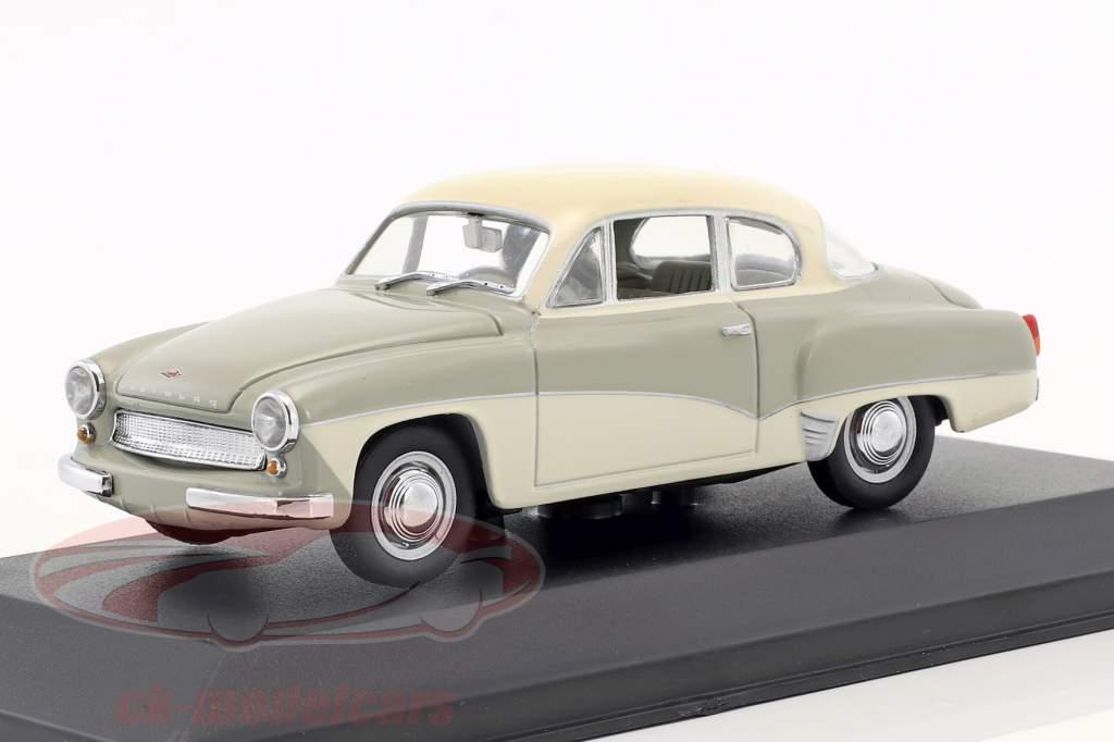 Wartburg 311 ano de construção 1955-1965 cinza / branco 1:43 Minichamps / falso overpack