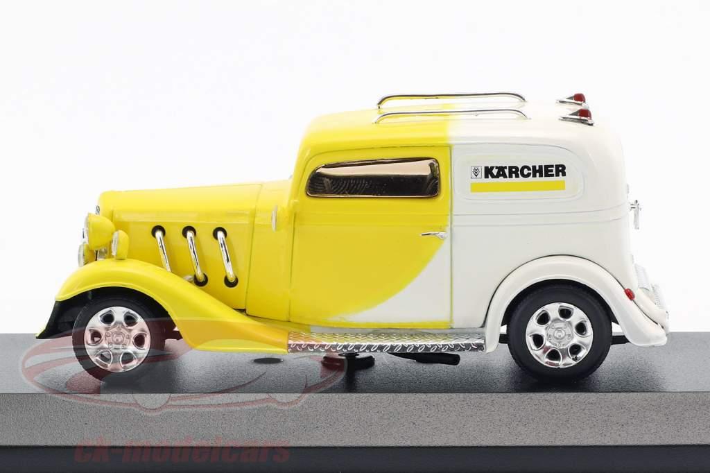 Kärcher Yellow-Car Hotrod geel / wit 1:43 Minichamps / vals oververpakking