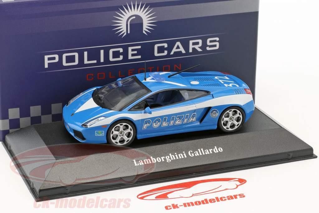 Lamborghini Gallardo polícia Itália ano de construção 2004 azul / branco 1:43 Atlas