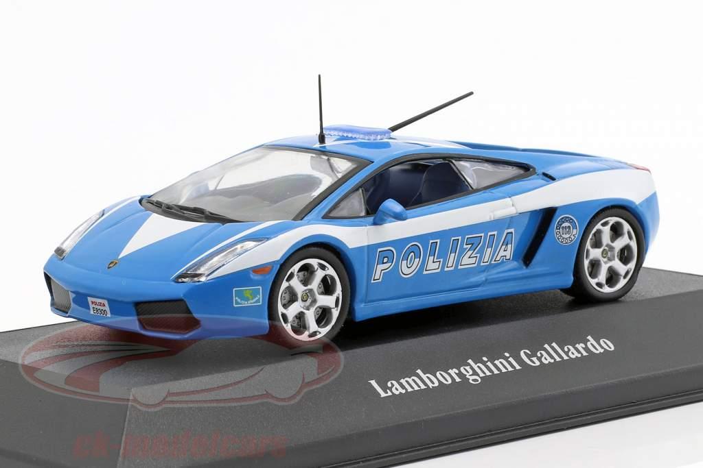 Lamborghini Gallardo policía Italia año de construcción 2004 azul / blanco 1:43 Atlas