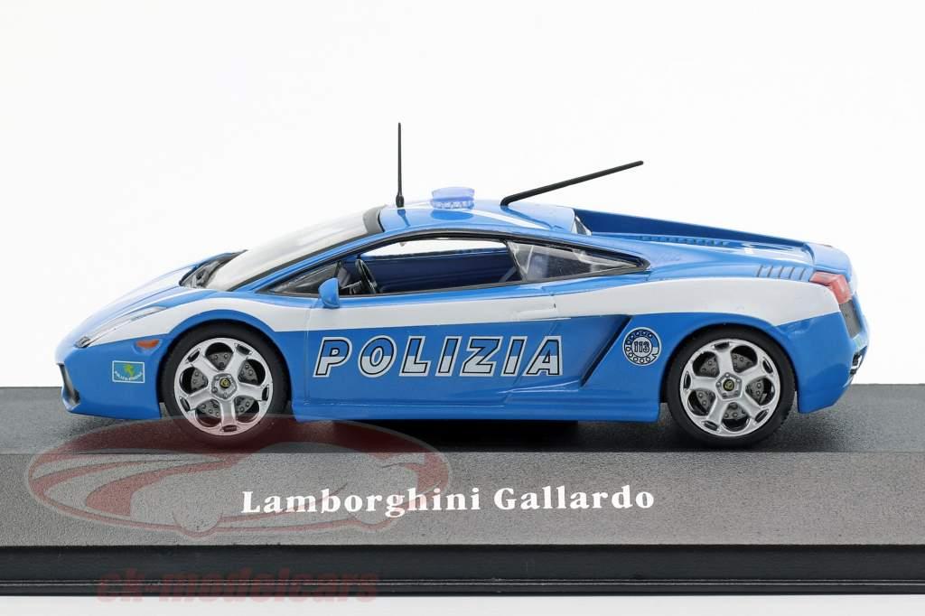 Lamborghini Gallardo police Italie année de construction 2004 bleu / blanc 1:43 Atlas