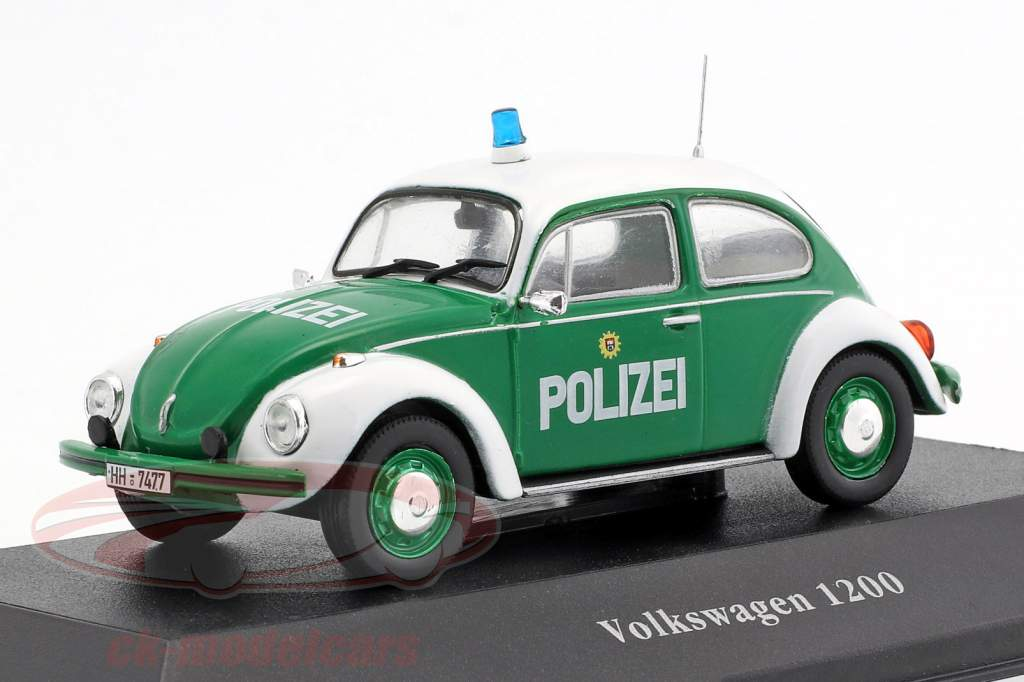 Volkswagen VW coléoptère 1200 police Allemagne année de construction 1977 vert / blanc 1:43 Atlas