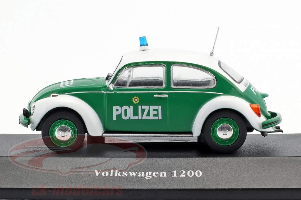 Volkswagen VW Käfer 1200 Polizei Deutschland Baujahr 1977 grün / weiß 1:43 Atlas