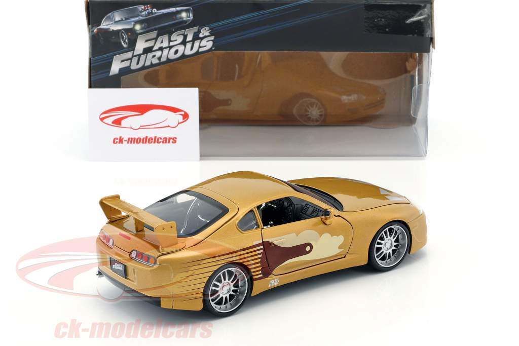 Slap Jack's Toyota Supra year 1995 Movie 2 Fast 2 Furious (2003) gold 1:24 Jada Toys