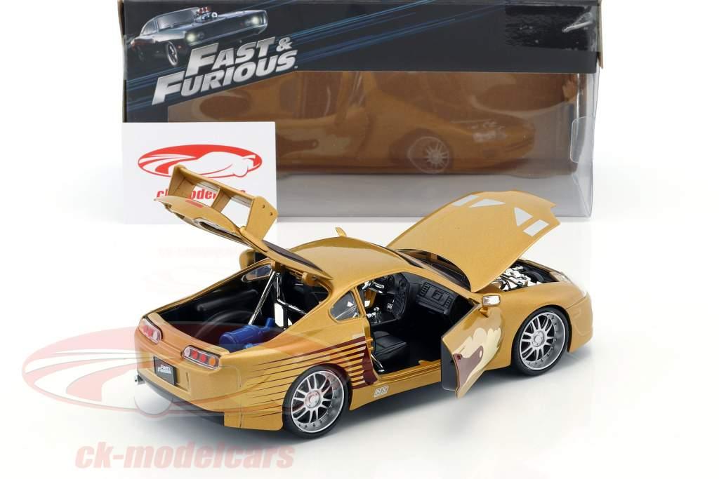 Slap Jack's Toyota Supra año de construcción 1995 película 2 Fast 2 Furious (2003) oro 1:24 Jada Toys