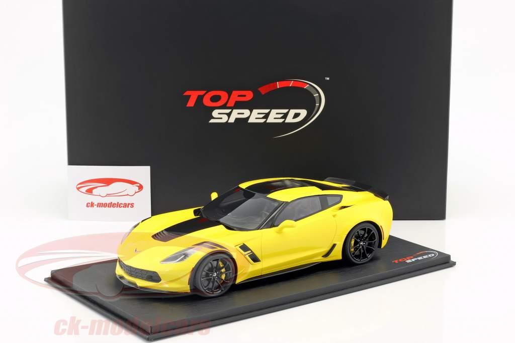 Chevrolet Corvette Grand Sport Bouwjaar 2017 Corvette racing geel 1:18 TrueScale