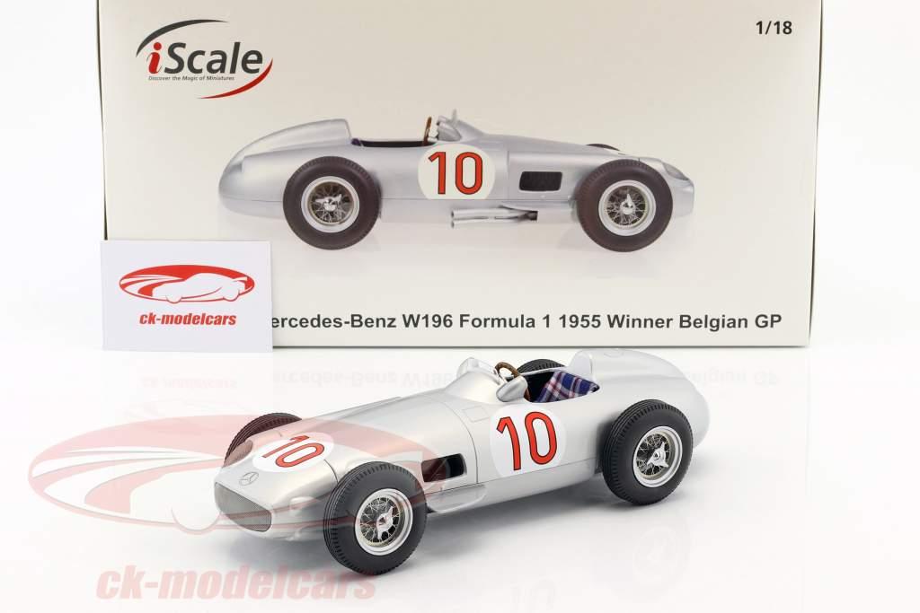 J.M. Fangio Mercedes-Benz W196 #10 ganador belga GP campeón del mundo fórmula 1 1955 1:18 iScale