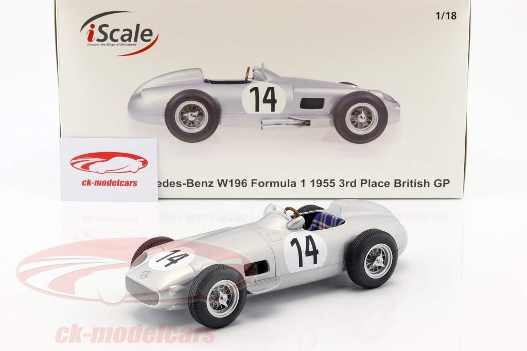 Karl Kling Mercedes-Benz W196 #14 3 ° britannico GP formula 1 1955 1:18 iScale