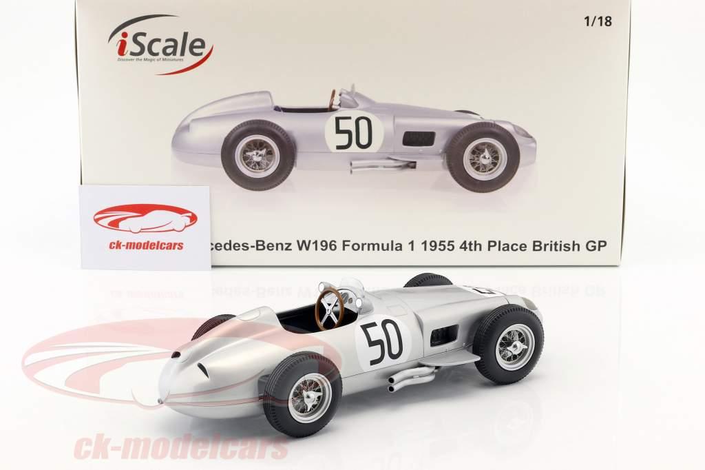 Piero Taruffi Mercedes-Benz W196 #50 4. britisk GP formel 1 1955 1:18 iScale