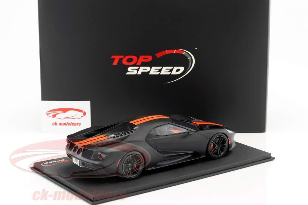 Ford GT Bouwjaar 2017 mat zwart met oranje strepen 1:18 TrueScale