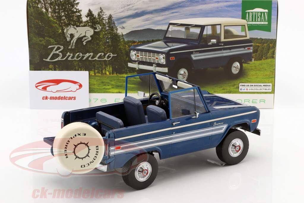 Ford Bronco Explorer Opførselsår 1976 blå / hvid 1:18 Greenlight