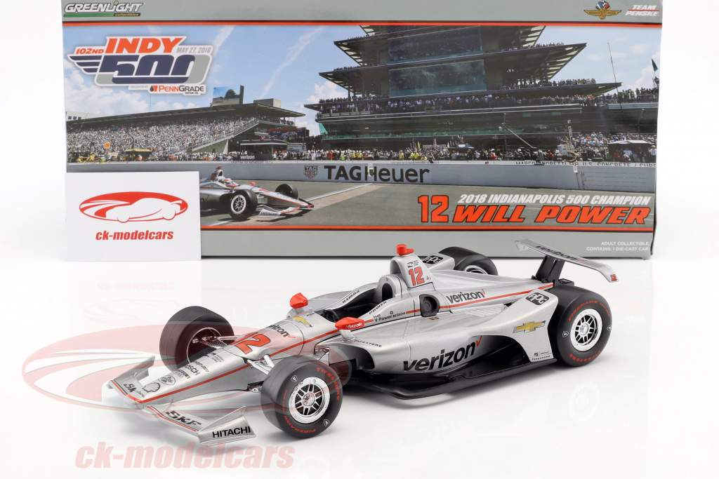 Will Power Chevrolet #12 vencedor Indy 500 campeão Indycar Series 2018 Team Penske 1:18 Greenlight