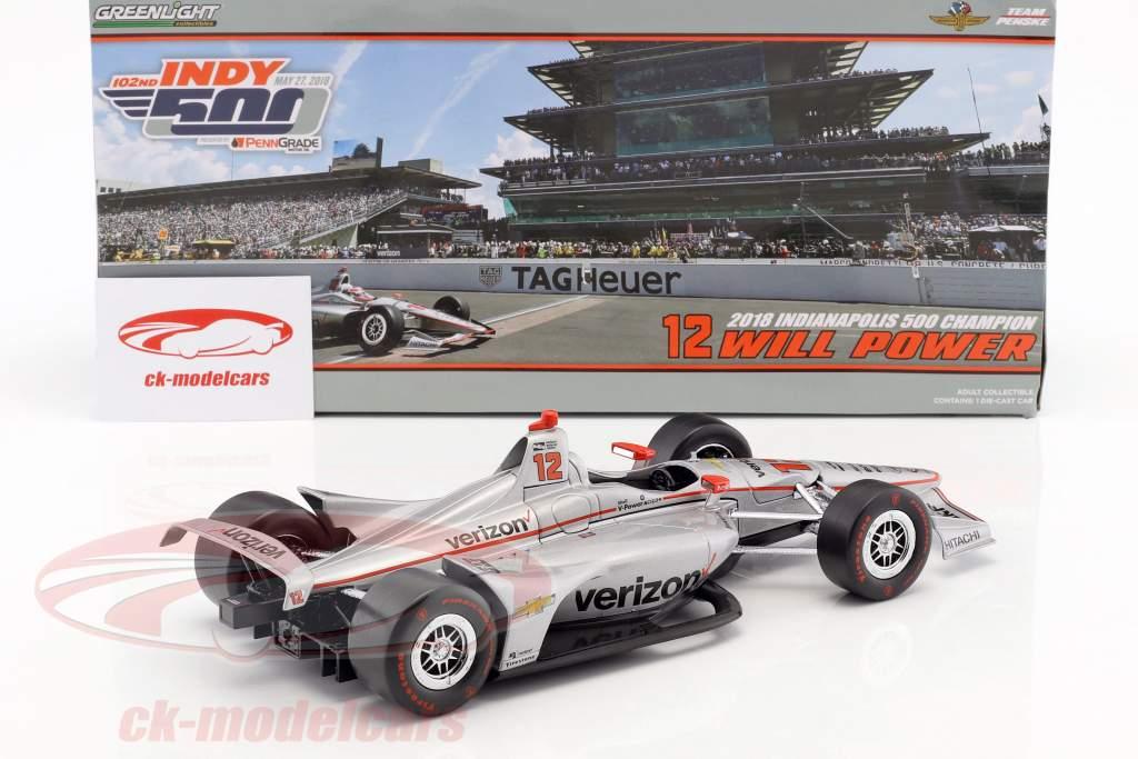 Will Power Chevrolet #12 vincitore Indy 500 campione Indycar Series 2018 Team Penske 1:18 Greenlight