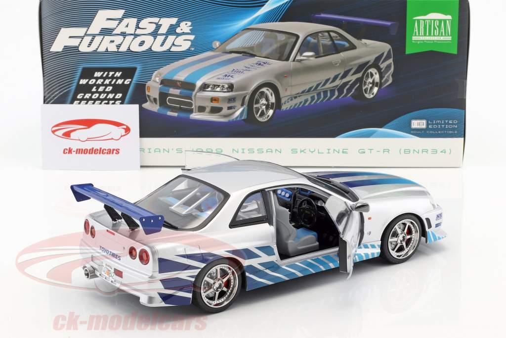 Brian's Nissan Skyline GT-R (BNR34) 1999 film 2 Fast 2 Furious (2003) sølv / blå 1:18 Greenlight