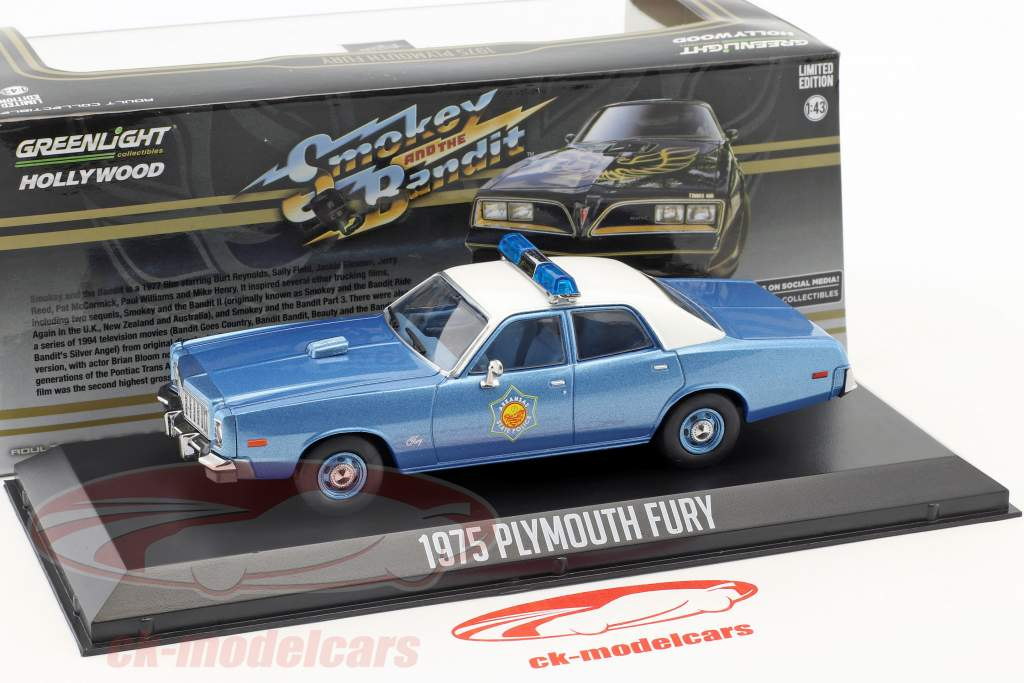Plymouth Fury Arkansas State Police año de construcción 1975 película Smokey and the Bandit (1977) 1:43 Greenlight