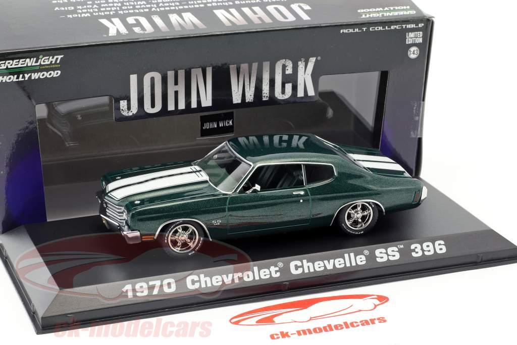 Chevrolet Chevelle SS 396 Opførselsår 1970 film John Wick 2 (2017) grøn metallisk 1:43 Greenlight
