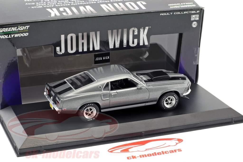 Ford Mustang Boss 429 Baujahr 1969 Film John Wick (2014) grau / schwarz 1:43 Greenlight