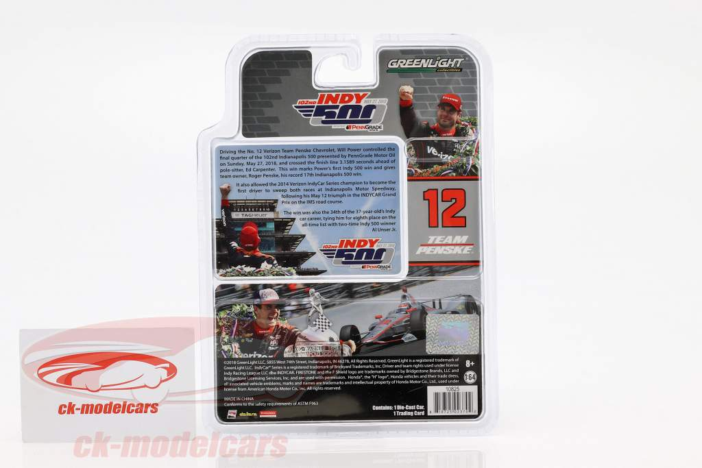 Will Power Chevrolet #12 vincitore Indy 500 campione Indycar Series 2018 Team Penske 1:64 Greenlight