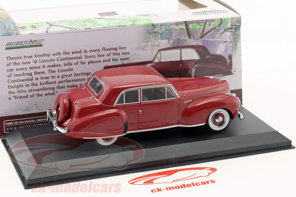 Lincoln Continental année de construction 1941 sombre rouge 1:43 Greenlight